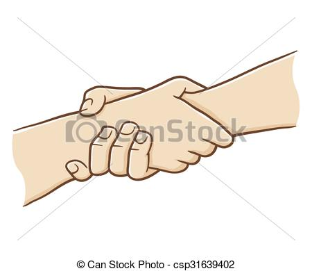Vector Clipart of Two Hand Holding Each Other With Strong Grip.