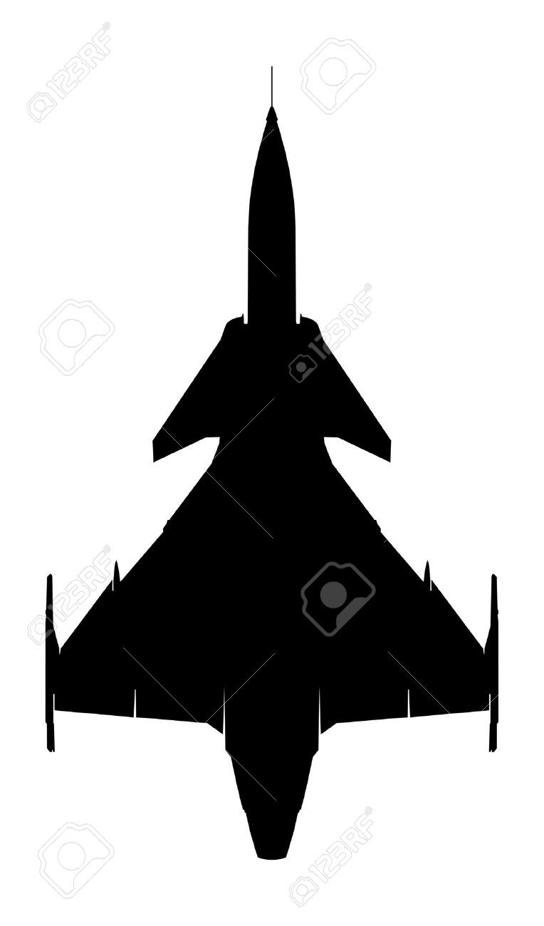 Swedish Supersonic Fighter Gripen Silhouette Royalty Free Cliparts.