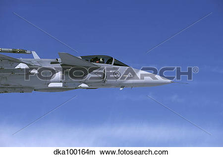 Stock Photo of Saab JAS 39 Gripen fighter of the Swedish Air Force.