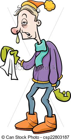 Vector of man with flu cartoon illustration.