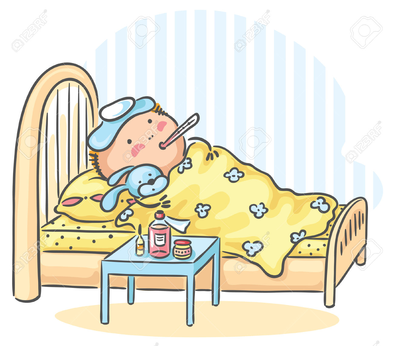 A Child Has Got Flu And Is Lying In Bed With A Thermometer Royalty.