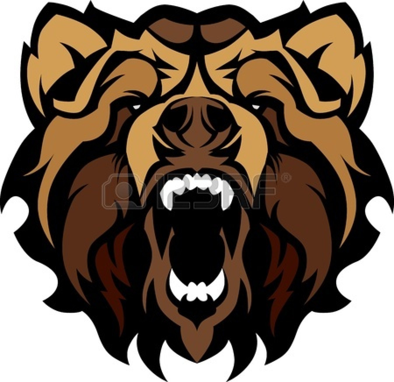 Growling Grizzly Bear Clipart.