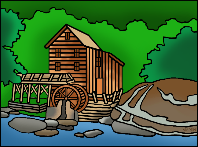 Grist mill clipart.