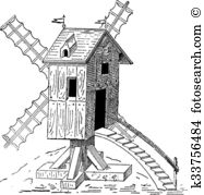 Gristmill Clip Art Vector Graphics. 5 gristmill EPS clipart vector.