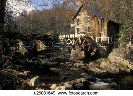 Stock Photograph of Babcock State Park, grist mill, WV, West.