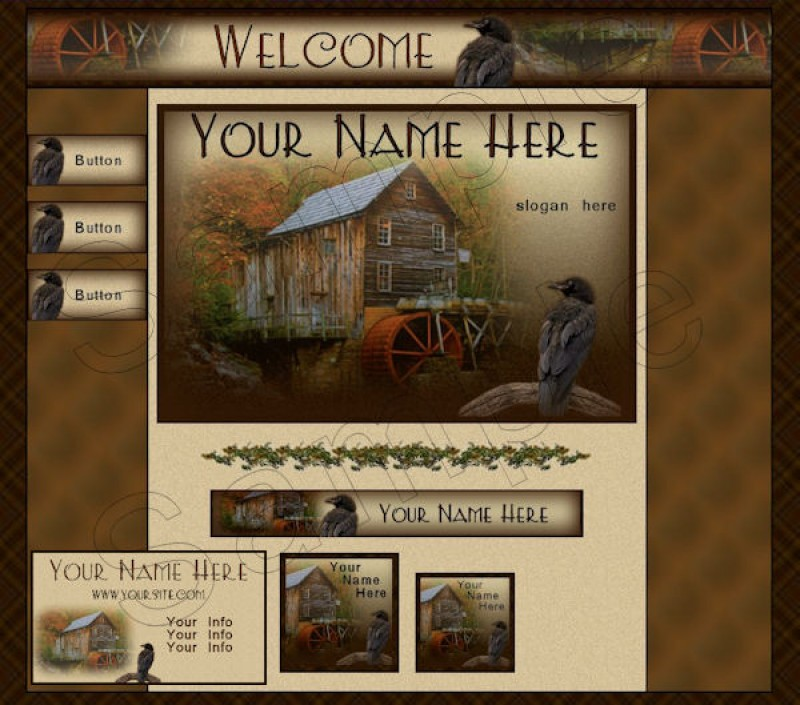 Another Old Grist Mill Primitive Webset Web Graphics.