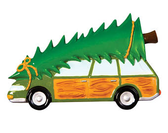 Station Wagon With Christmas Tree Clipart.