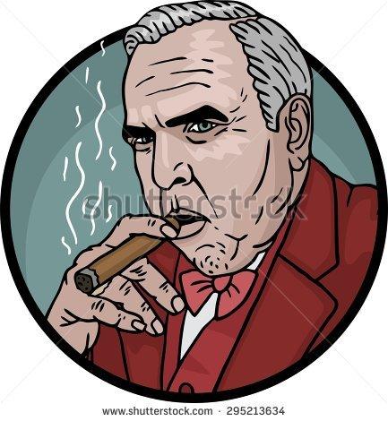 Strict Fat Rich Man Suit Cigar Stock Vector 295213637.