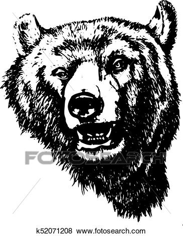 Silhouette of an evil grizzly bear (head), on white background, Clip Art.
