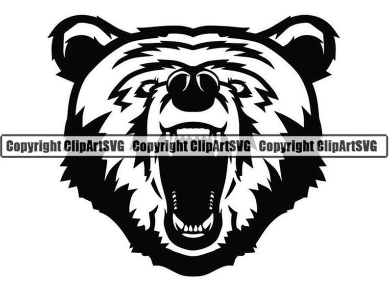 Grizzly Bear #4a Head Face Animal Growling Cartoon College High School Team  Sport Mascot Logo .SVG .PNG Clipart Vector Cricut Cut Cutting.