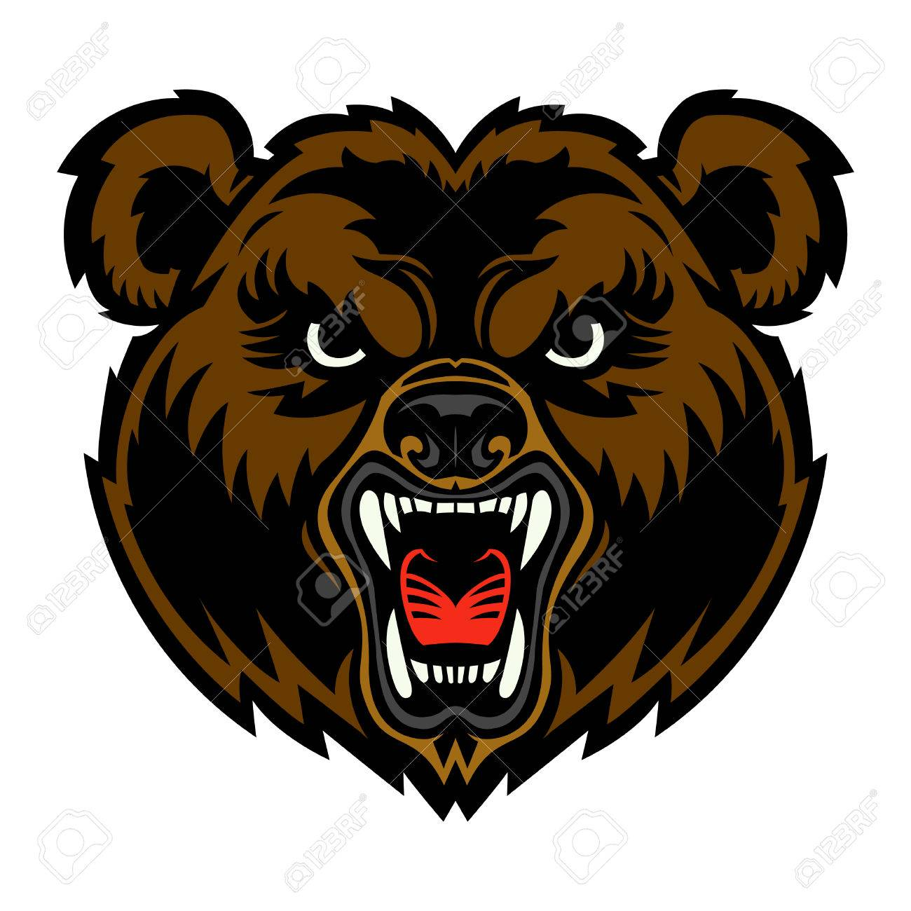 Grizzly Bear Face Clipart.