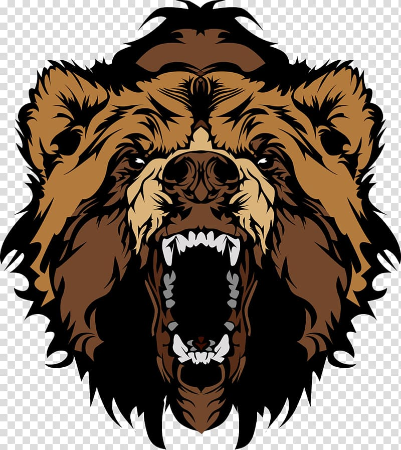 Grizzly bear illustration, Grizzly bear , Roaring bear head.