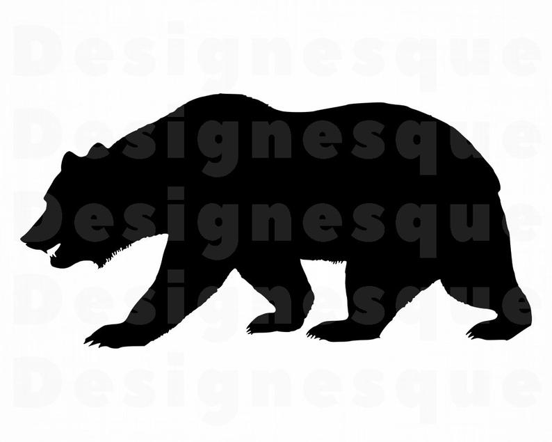 Bear Silhouette SVG, Bear SVG, Grizzly Bear SVG, Bear Clipart, Bear Files  for Cricut, Bear Cut Files For Silhouette, Bear Dxf, Png, Eps, Svg.