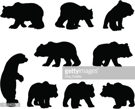 Arte vectorial : Brown grizzly bear silhouette set.