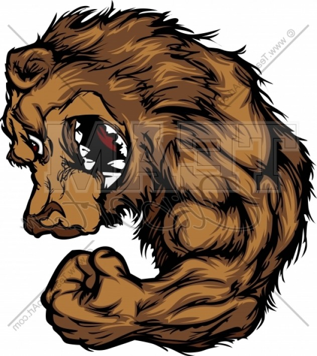 Best Muscle Grizzly Bear Clipart Graphic.
