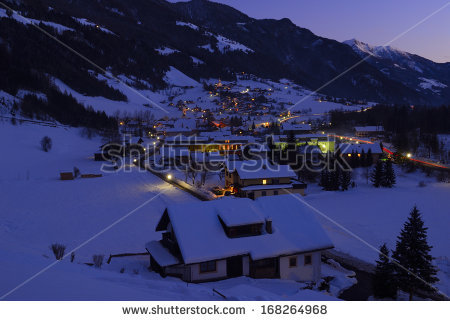 Alpine Village Heiligenblut Night Winter Hohe Stock Photo.