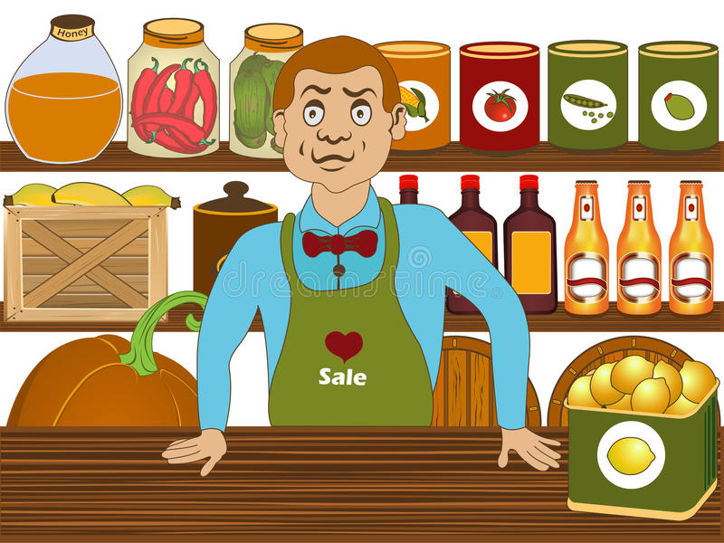 Grocery Salesman Stock Illustrations.