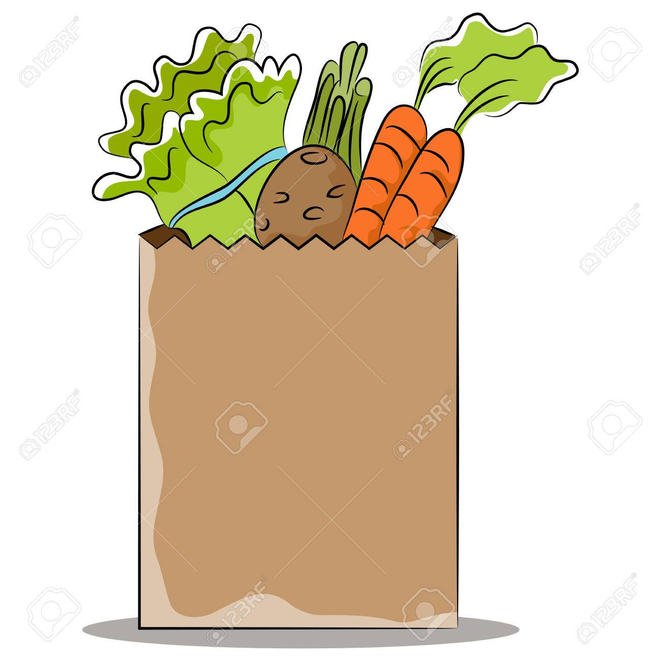 An image of a grocery bag of healthy vegetables..