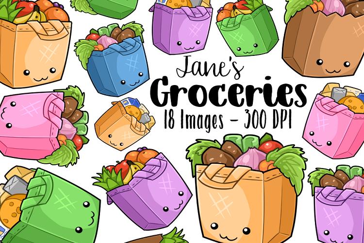 Kawaii Grocery Bag Clipart.