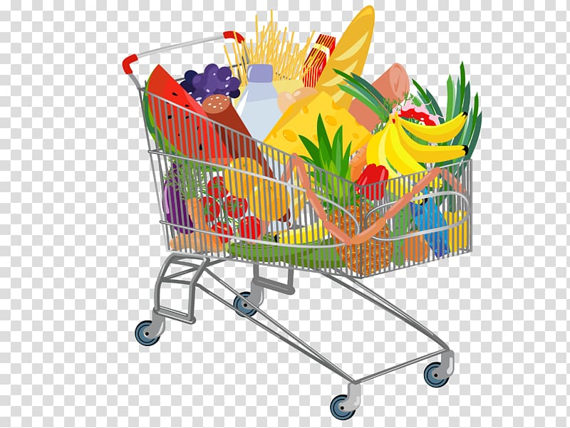 Grocery cart full of fruits, Shopping cart Supermarket.