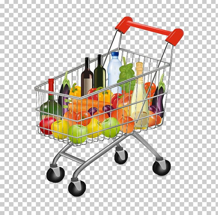 Supermarket Shopping Cart Grocery Store Illustration PNG.