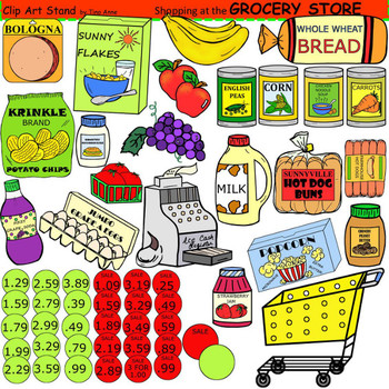 Grocery items clipart.