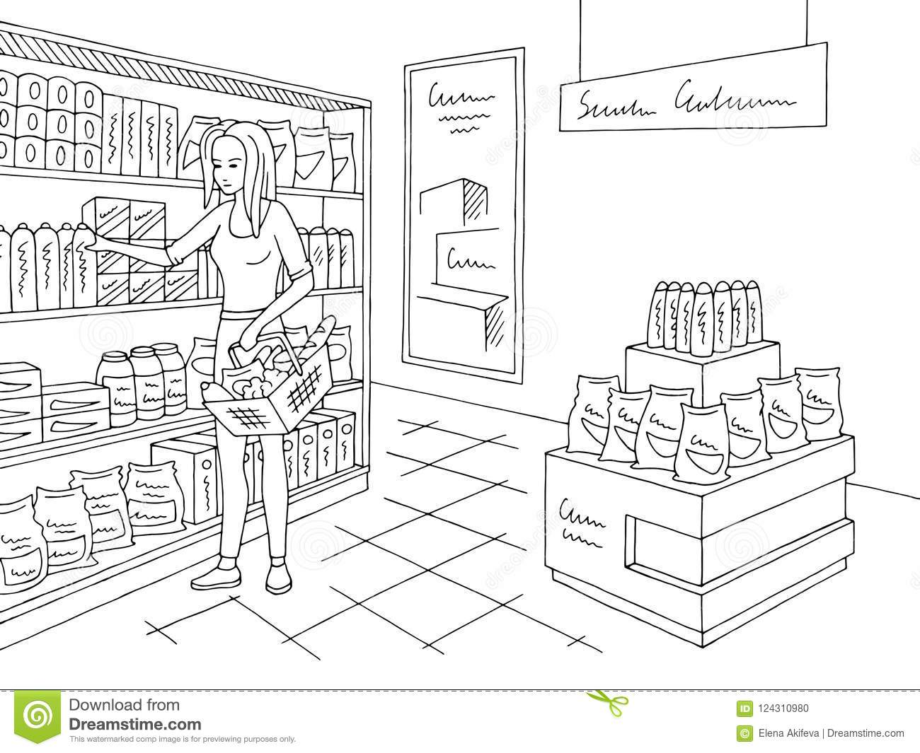 Grocery Store Shop Interior Black White Graphic Sketch Illustration.