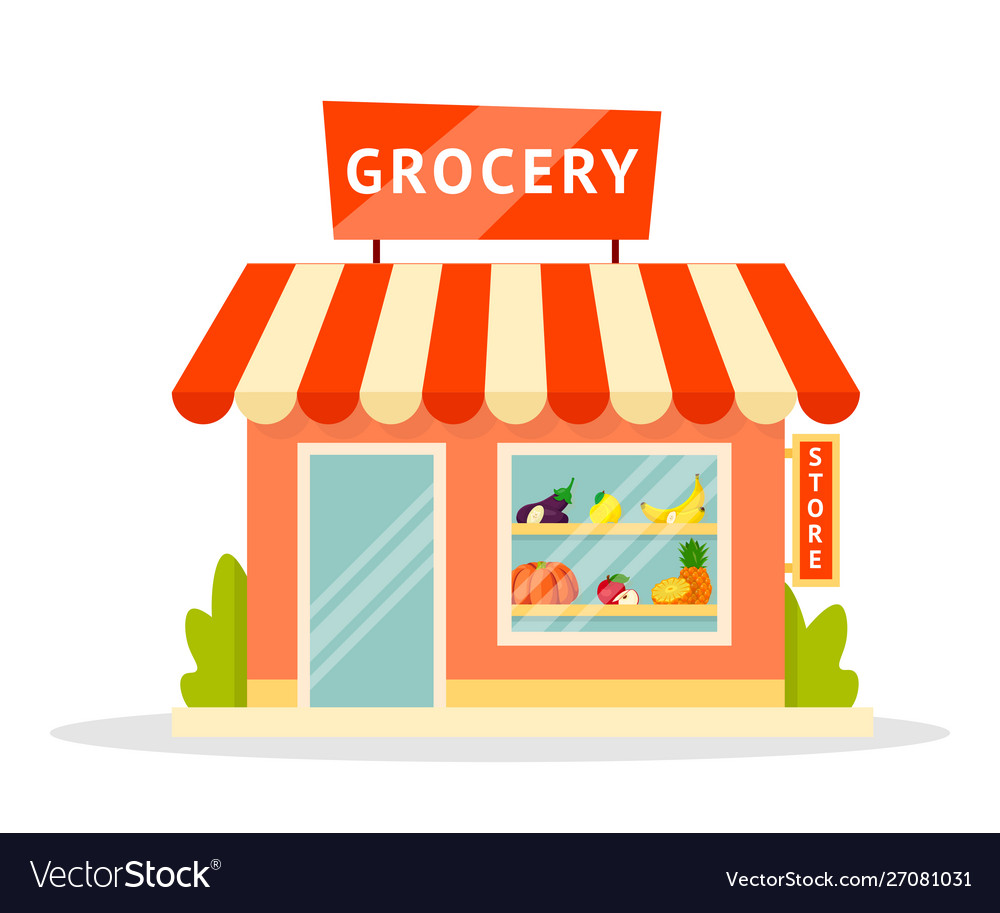 Grocery shop facade flat.