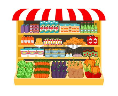 Supermarket. Food On Shelves Royalty Free Cliparts, Vectors.