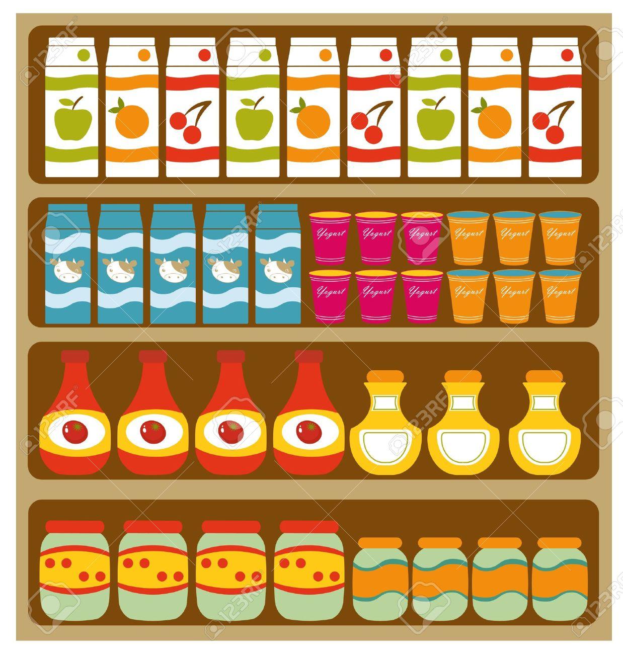 Grocery shelves.