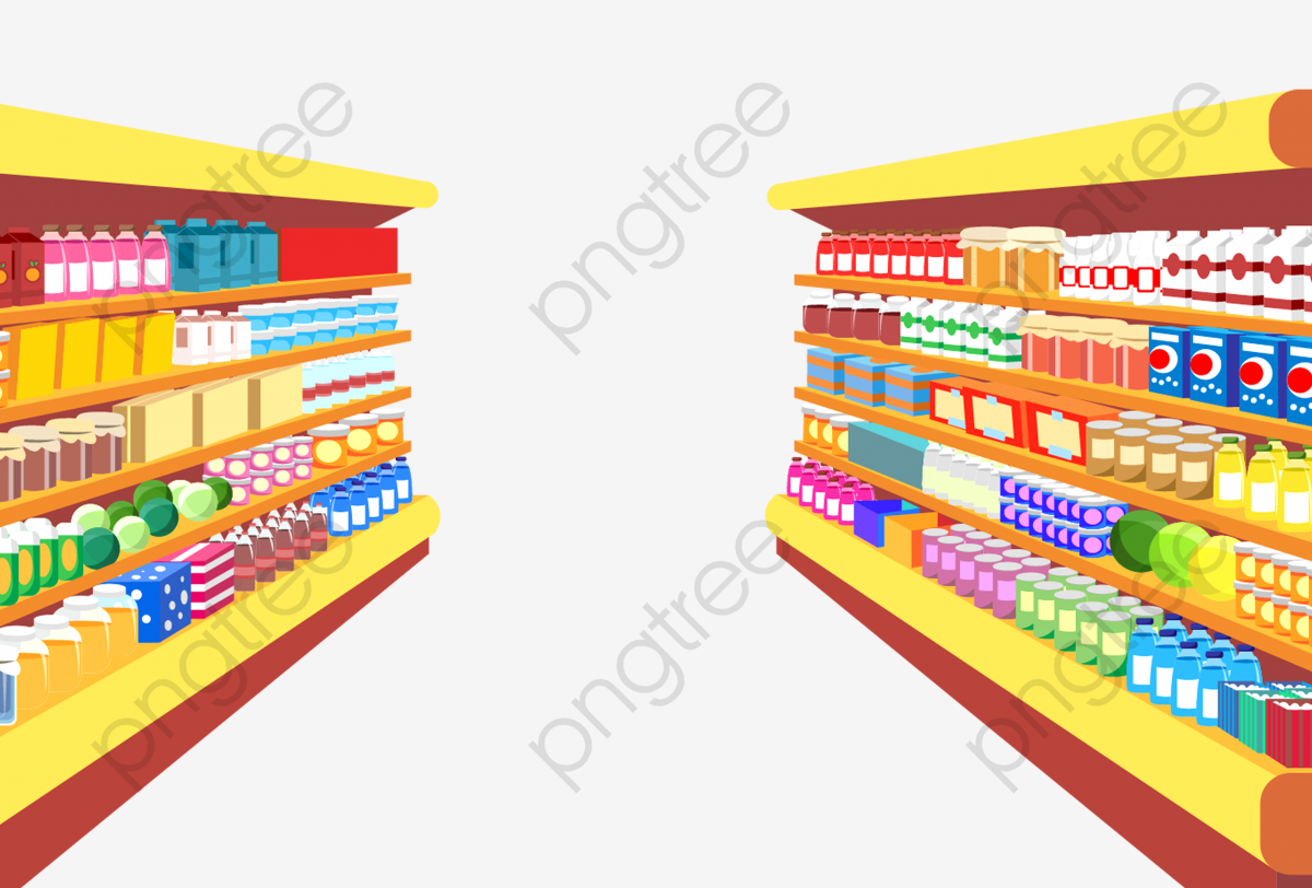 Simple Supermarket Shelves, Supermarket Clipart, Supermarket.