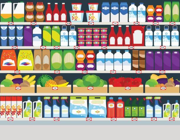 Best Supermarket Shelf Illustrations, Royalty.