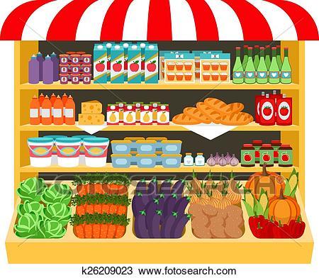 Supermarket. Food on shelves Clipart.