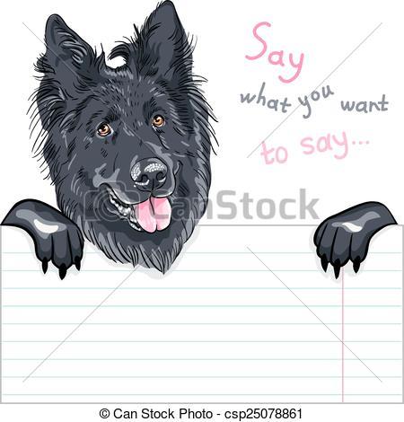 Clip Art Vector of dog Belgian Shepherd Dog, Groenendael breed.