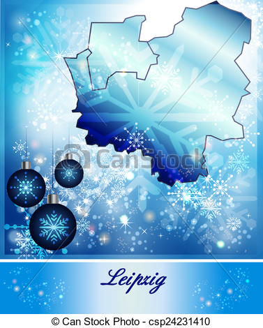 Clipart of Map of Leipzig in Christmas Design in blue csp24231410.