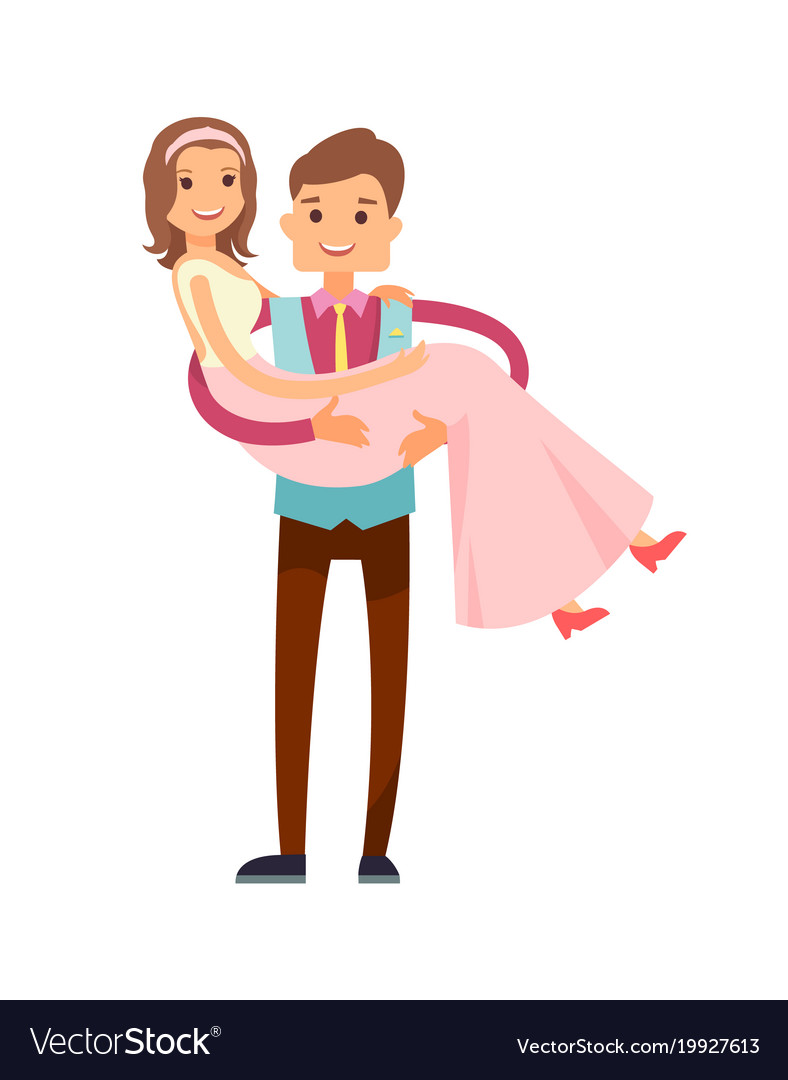 Groom carrying bride poster.