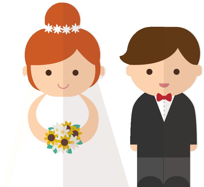 Cartoon bride and groom clip art.