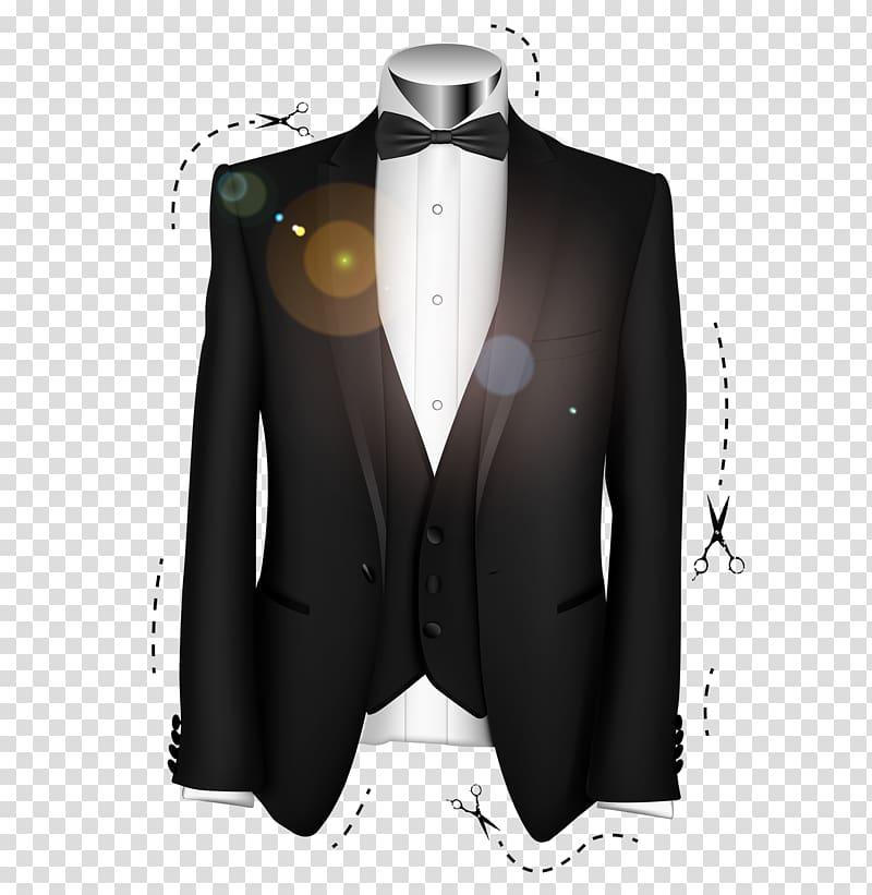Suit Tuxedo Formal wear Bow tie, Black groom suit.