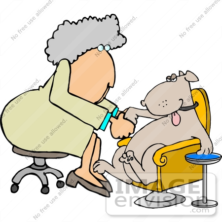 Female Dog Groomer Giving a Dog a Pedicure Clipart.