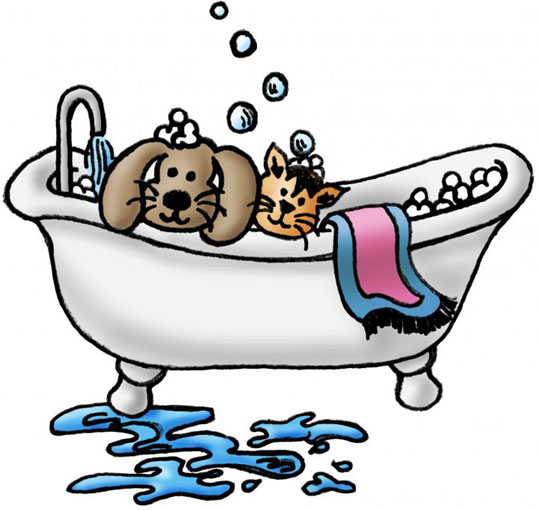 Cat and dog grooming clipart.
