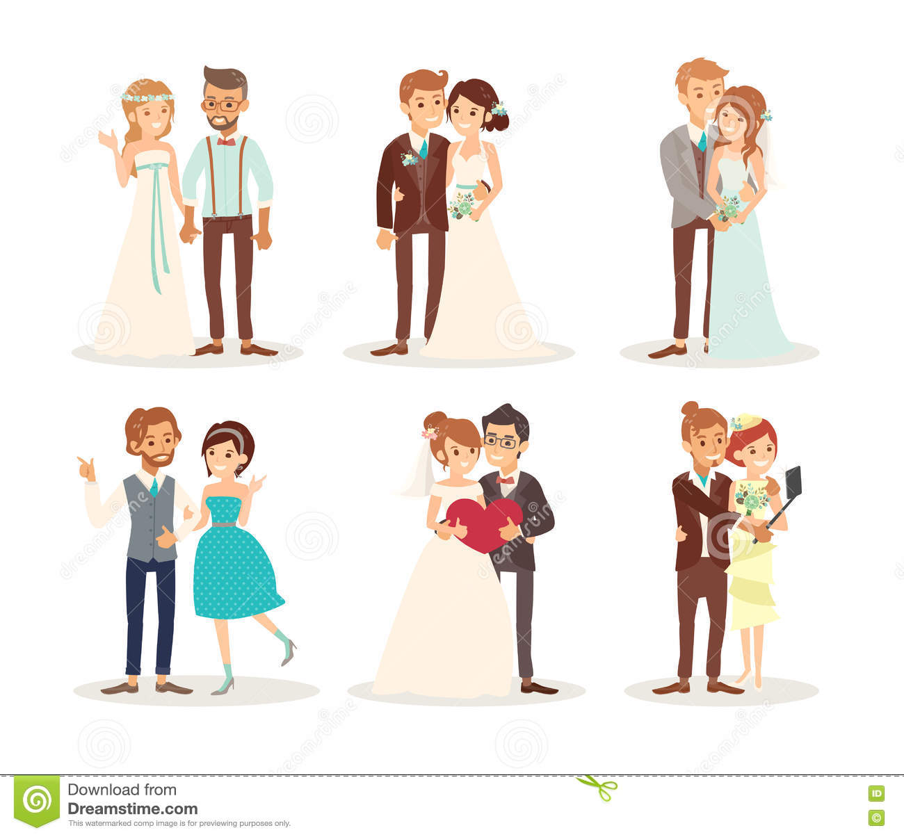 Cute Wedding Couple Bride And Groom Cartoon Stock Vector.