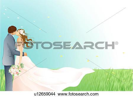 Drawings of Bride and Groom kissing outdoors u12659044.