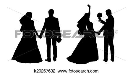 Clip Art of bride and groom silhouettes set 4 k20267632.