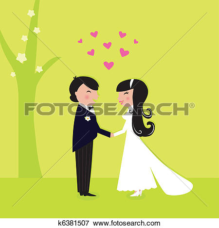 Clip Art of Outdoor wedding: couple have marriage in nature.