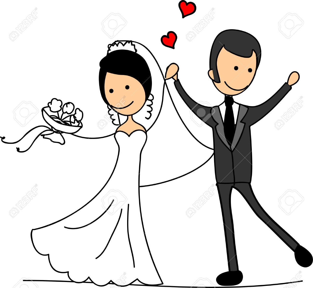Sweethearts And Happy Bride And Groom Royalty Free Cliparts.