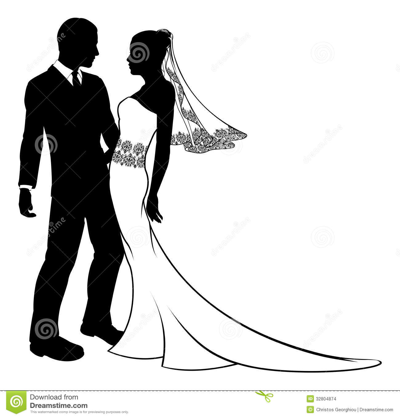Silhouette Of Bride And Groom Wedding Couple Stock Images.