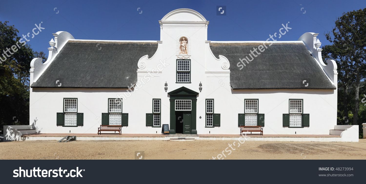 Traditional Cape Dutch Homestead On Wine Stock Photo 48273994.