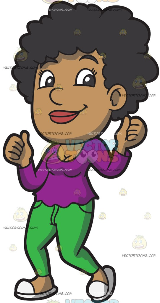 A Black Woman Grooves To Her Favorite Tune Cartoon Clipart.