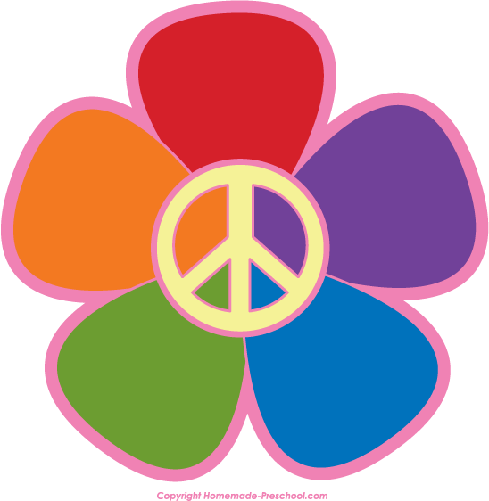 peace sign with flowers clipart #20