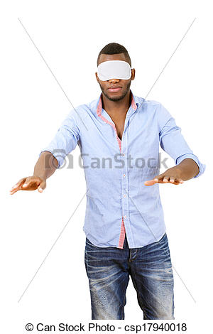 Stock Photography of Blindfolded man groping around, vertical.